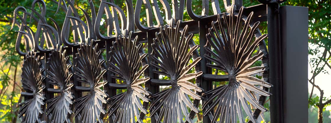 Detail of the outer fence at Gaudi House Museum in Barcelona