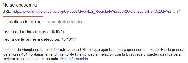 Detalle del Error 404 entre otros errores de rastreo (1/2)