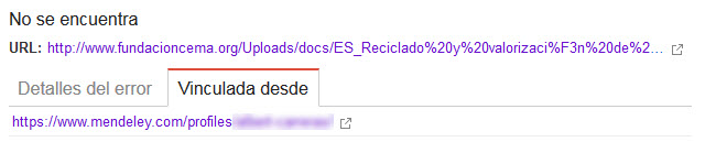 Detalle del Error 404 entre otros errores de rastreo (2/2)