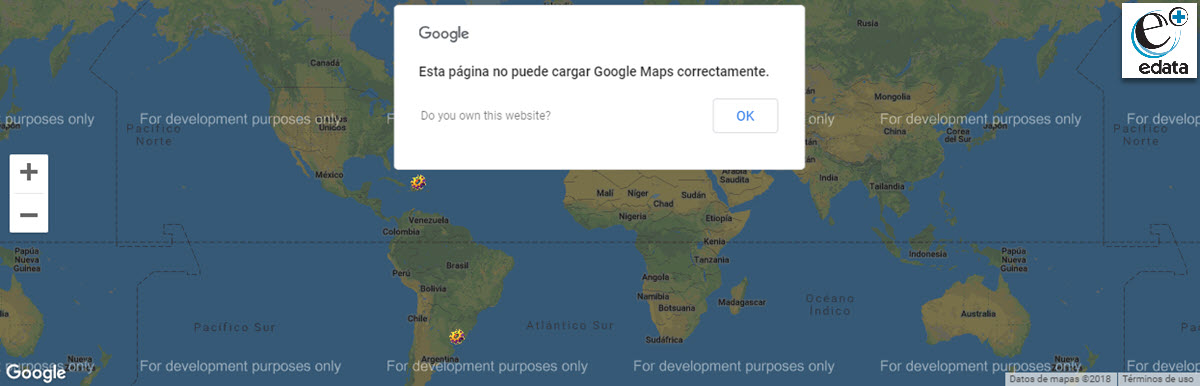 No se puede cargar Google Maps correctamente - For development purposes only