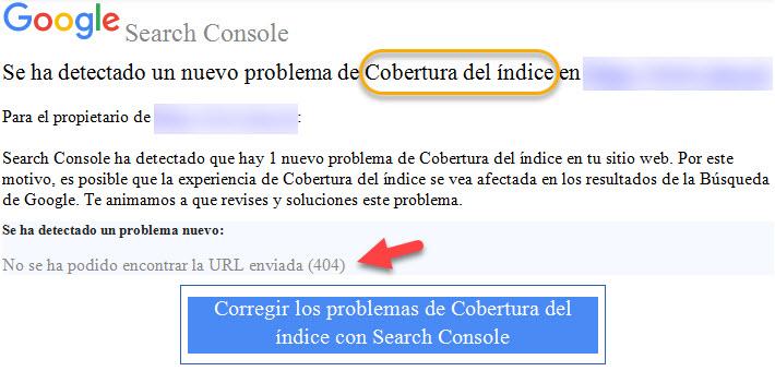 Email de notificación de errores de cobertura de índice en la Consola de Búsqueda de Google